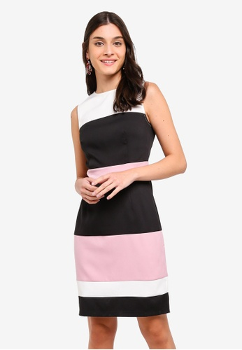 ZALORA black and multi Contrast Panels Sheath Dress D0AD9AA3AA38ECGS_1