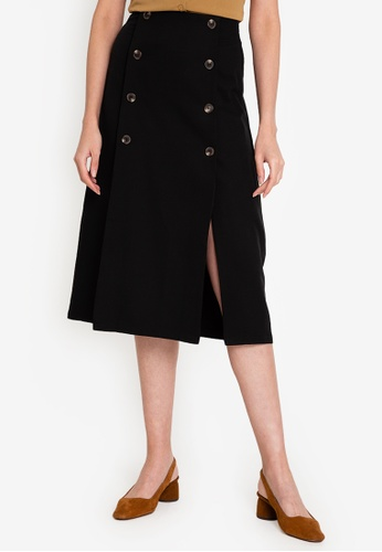 ZALORA WORK black Button Panel Skirt With Slit A0E39AA4B2DB4CGS_1