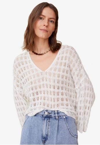 Mango white Open Work-Detail Sweater EC66AAAED2F5D7GS_1