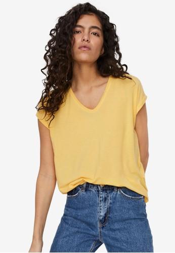 Vero Moda yellow V-Neck Short Sleeved Tee C2002AA5FA74BEGS_1