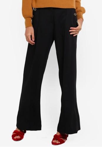 River Island black Button Wide Leg Trousers 4CA62AA45989D3GS_1