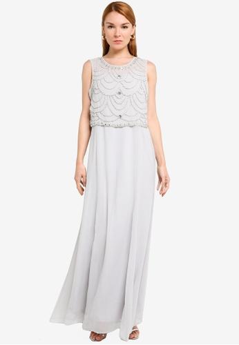 Goddiva grey Embellished Chiffon Maxi Dress 2E65CAA6082046GS_1