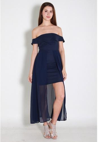 Leline Style blue Mila OffShoulder Dress LE802AA0FJEMSG_1