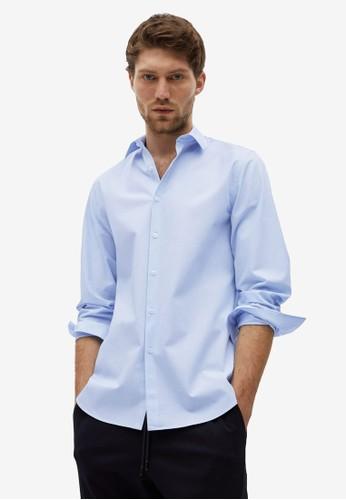MANGO Man blue Slim Fit Stretch Cotton Shirt DB01FAA2401E83GS_1