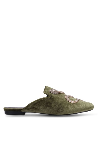 Public Desire green Lucent Diamante Snake Loafers PU378SH0RYRIMY_1