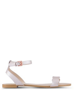 63f19eac14f32 Velvet pink Scalloped Flat Sandals 9567FSHF7DE33FGS 1