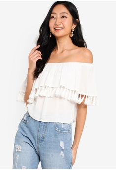 8b0643aa2 Something Borrowed white Off Shoulder Top With Tassels 6B326AA9A134DEGS_1