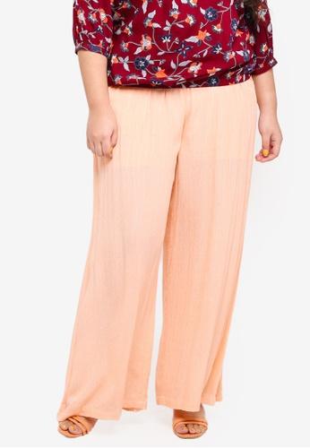 ELVI pink Plus Size Cha Wide Leg Trousers With Metallic Thread A0FF9AAB4D5F4BGS_1