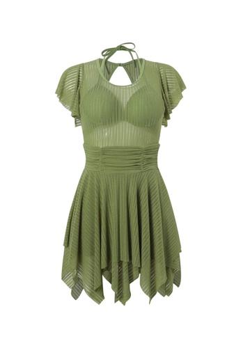 YG Fitness green Sexy Gauze Open Back One-Piece Swimsuit 165A0USC907B53GS_1