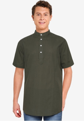 Fidelio 綠色 中山領 短袖 襯衫 4A30FAA50C2A22GS_1