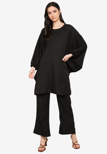 Butik Sireh Pinang black Zalikha Blouse Suit Kaftan 3EE3FAA1B3B668GS_1