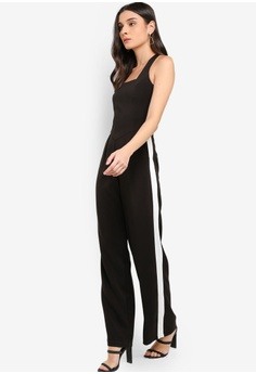 495eec9e58ee Lavish Alice black Square Neck Side Stripe Wide Leg Jumpsuit  6913EAAA74C045GS 1