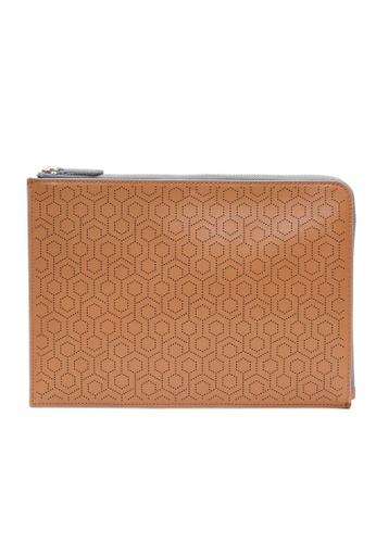 MISCHA brown MISCHA Leather Folio Pouch - Oak 37649ACCDB16AFGS_1