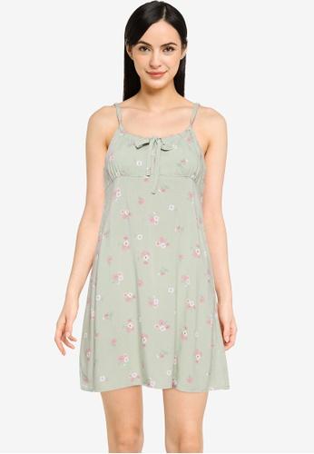 Cotton On green Woven Petite Ivy Tie Front Mini Dress D4163AA0F8ED7FGS_1