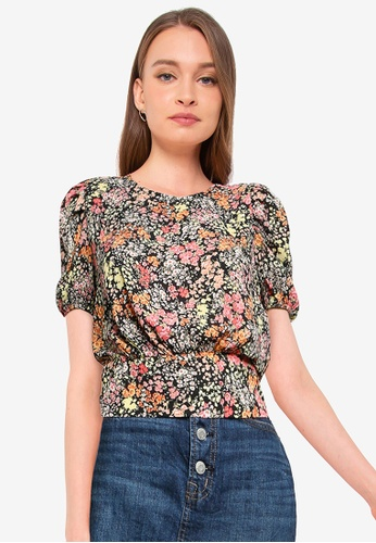 Miss Selfridge pink and multi Peach Floral Print Blouse 0138AAABC2A274GS_1