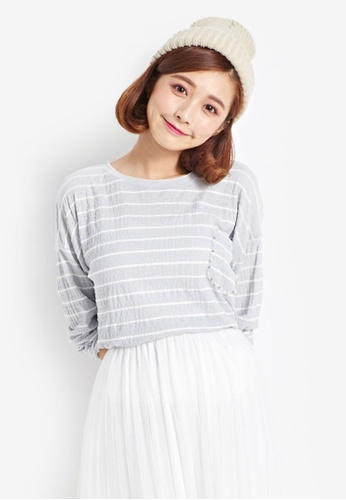 Tokichoi grey Stripe Long Sleeve T-Shirt 06582AA2807491GS_1