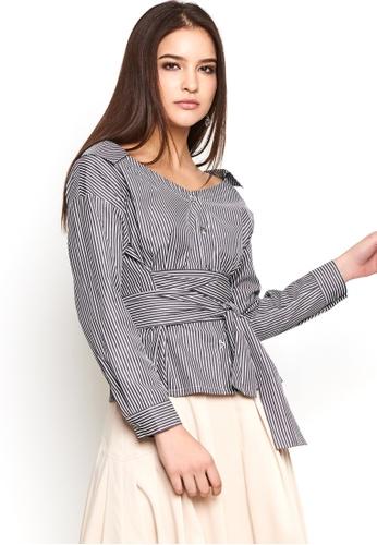 Nichii black Striped Wide Neck Collar Shirt 99295AAC85834CGS_1