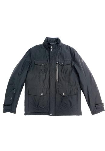 East Pole black Men's Multi-function Pockets Utility Hidden Hooded Padded Coat 0412FAA099843EGS_1