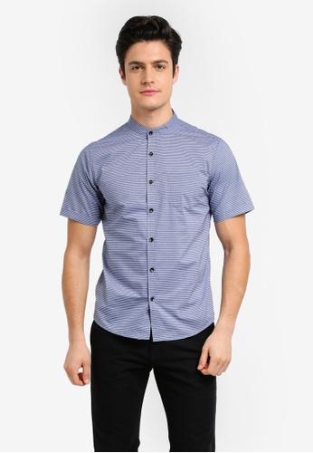 Fidelio blue Mandarin Collar Stripes Short Sleeves Shirt AFF5FAA92D66B3GS_1
