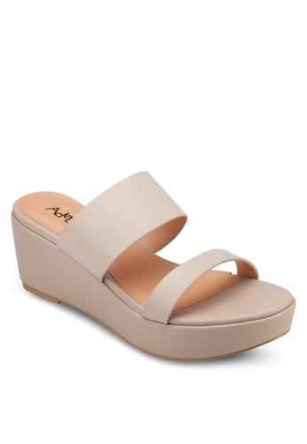 zalora 折扣碼雙帶厚底楔型涼鞋, 女鞋, 楔形涼鞋