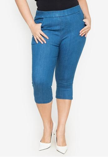 Maxine blue Plus Size Slim Fit Denim Pants 8C99EAAB9CCCBDGS_1