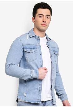 8f9ff154de Only   Sons blue Lucas Distressed Denim Overshirt 610ABAA33DDF2AGS 1