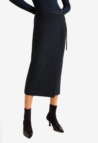 Mango blue and navy Knit Wrap Skirt 9DD93AA2E68FFDGS_1