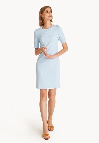 Pomelo blue Mini Front Seams Dress E60D8AAFF4EAA7GS_1