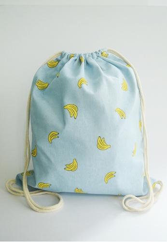 The Twinees blue Sky Blue Banana Patterned Drawstring Bag TH572AC94NCRSG_1