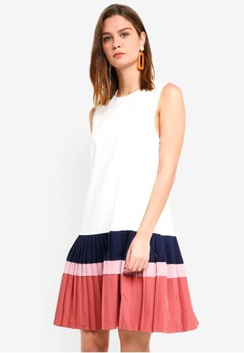 Haute Kelly white and multi Seung Pleated Dress 88E1EAAF245A4AGS_1
