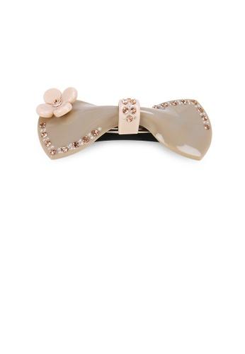 Glamorousky gold Fashion Cute Flower Ribbon Gray Hair Slide with Cubic Zirconia 326B5ACB0F9F03GS_1
