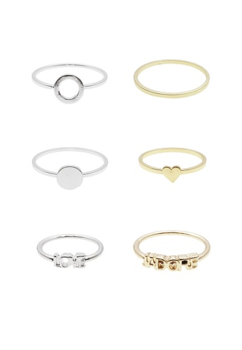 LUCCACAL silver 6 x Stackable Ring Set LU294AC05CZUMY_1