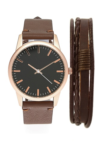 LEUPP brown Ikeda Watch And Bracelet Pack 64E3FAC0BD2E92GS_1