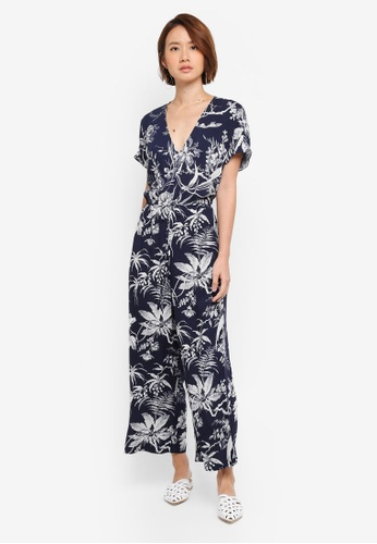 WAREHOUSE navy Fern Print Jumpsuit B0B84AA98246F8GS_1