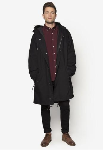 寬esprit 會員版絨毛連帽大衣, 服飾, 外套