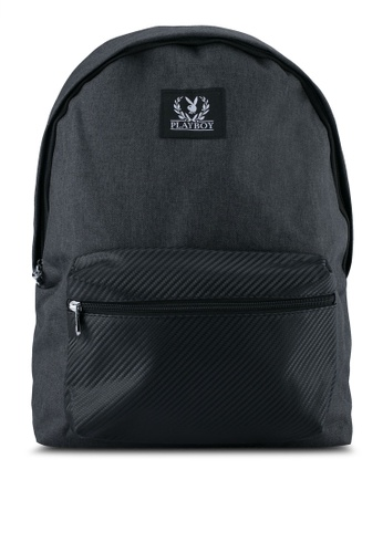 Playboy black Playboy Backpack With USB Charging Port PL371AC0SK0OMY_1