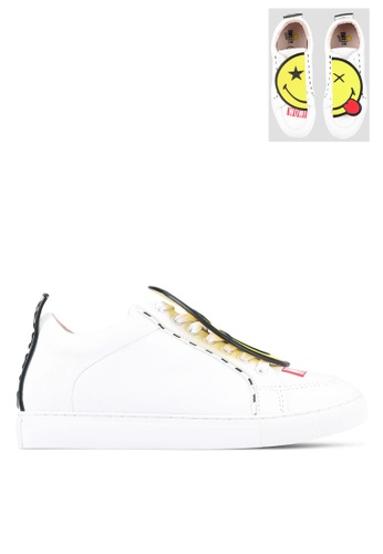 House of Avenues white Smiley World Sneakers With Detachable Patches HO685SH0RRAGMY_1