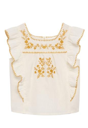 MANGO KIDS white Cotton Linen Embroidered Blouse F5284KAD15B53FGS_1