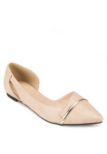 MAzalora 順豐RIE 側鏤空金屬飾尖頭平底鞋, 女鞋, 鞋