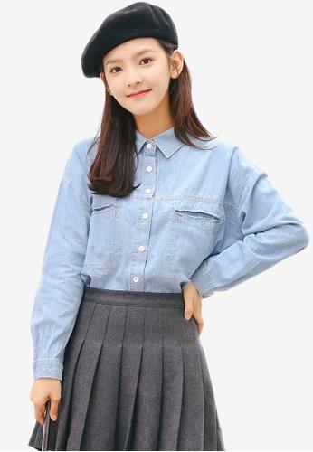 Shopsfashion blue Denim Shirt 78AFBAAAEEFB29GS_1