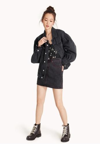 Pomelo black Mini Top Stitch Denim Skirt 8F443AA4D553B6GS_1