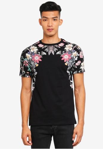 River Island black Bloom Shoulder T-Shirt 4267FAAFEDEBFBGS_1