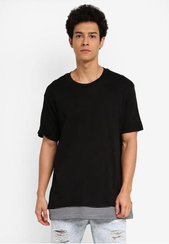 Cotton On 黑色 短袖條紋拼接T恤 F2932AAFAC02EFGS_1