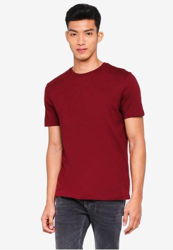 Topman red Burgundy Slim Crew T-Shirt 32F0BAA05B3198GS_1