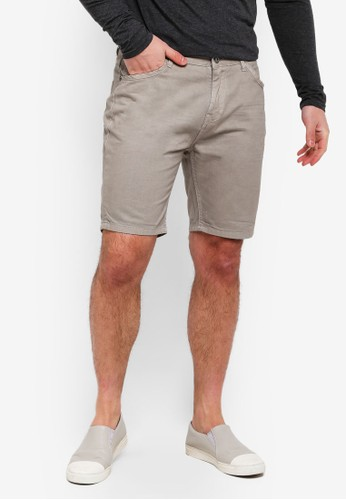 Brave Soul grey Broken Cotton Twill Shorts 08819AAA39E825GS_1