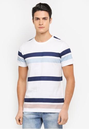 ZALORA blue and multi Printed Stripes Tee C0E69AA4C13CDFGS_1