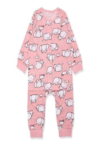 Organic mom pink Organic Cotton Alice Elephant Lightweight Long Sleeves Pjs F550EKA84B7D9CGS_1