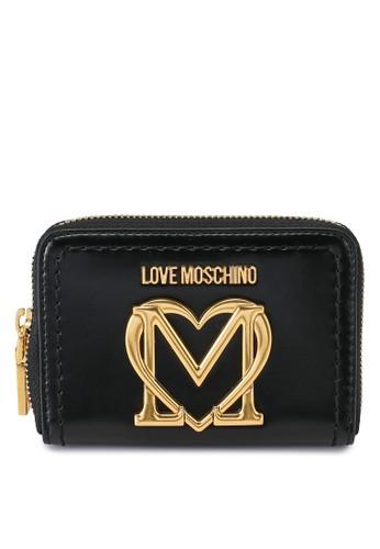 Love Moschino black Love Logo Short Zip Around Purse 59A63ACA4DC64CGS_1