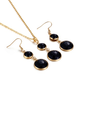 Glamorousky black Fashion and Elegant Plated Gold Geometric Round Black Cubic Zirconia 316L Stainless Steel Necklace and Earrings Set 1AE10AC1EA6215GS_1