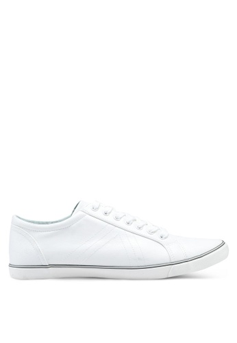 Burton Menswear London white White Lace Up Leather Look Trainers On A Slim Sole 71F31SH9554935GS_1